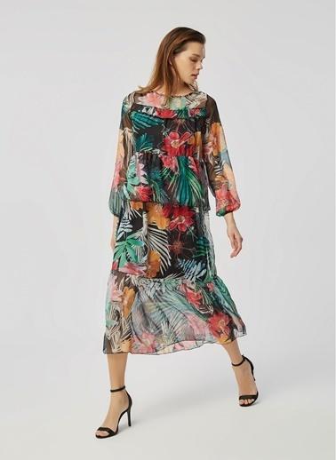 Monamoda Katlı Renkli Çiçek Desenli Relax Fit Şifon Elbise Siyah